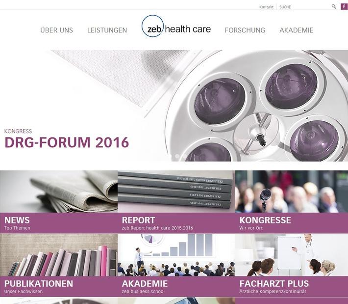 Neuer Webauftritt von zeb.health care: Aspekte um Strategie und Management, Fusionen, Finanzen, Controlling sowie Personalmanagement im Fokus
