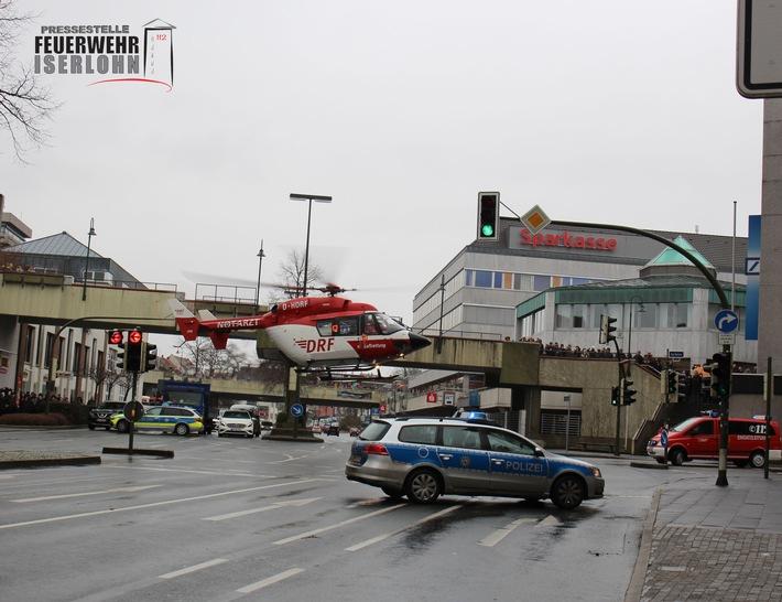 FW-MK: Rettungshubschrauberlandung sorgt für Chaos in der Innenstadt