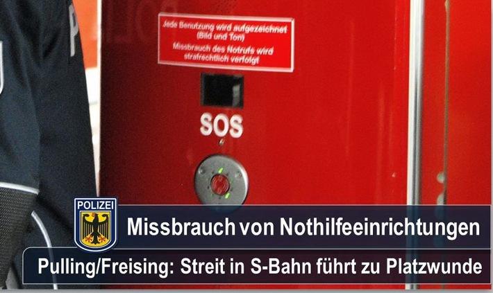 Eine am Montagabend bei Freising in einer S-Bahn gezogene Notbremse bescherte einem 19-Jährigen eine Platzwunde.