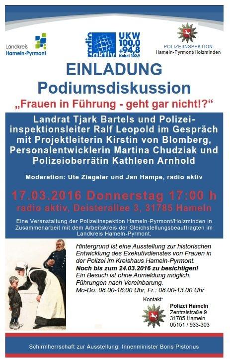 POL-HM: Einladung zur Podiumsdiskussion: Frauen in Führung - geht gar nicht!?