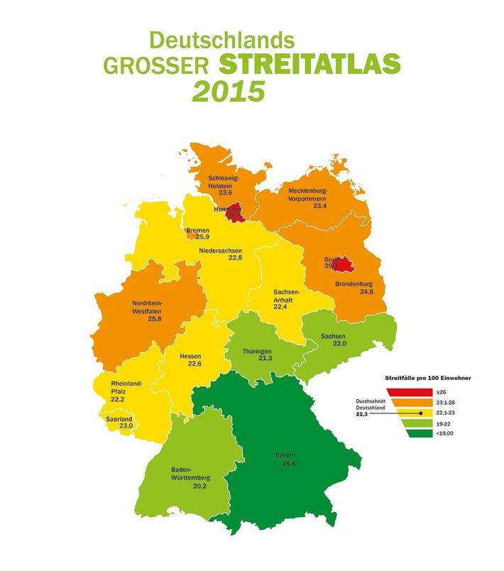Deutschland streitet immer mehr - Berlin bleibt Nummer eins