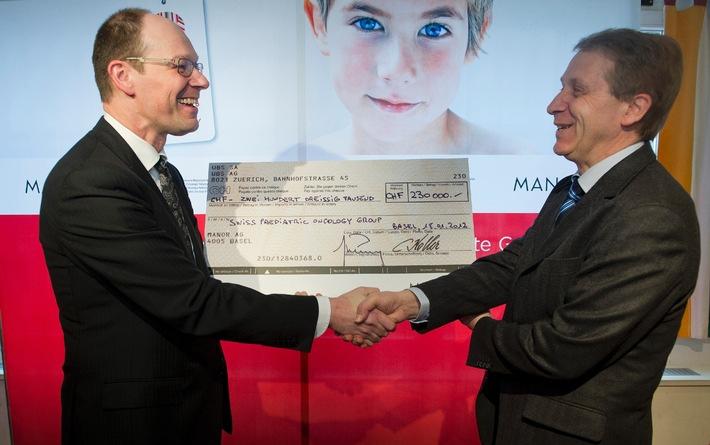Action caritative Manor Charity - 230'000 francs en faveur de la recherche sur le cancer des enfants et des adolescents