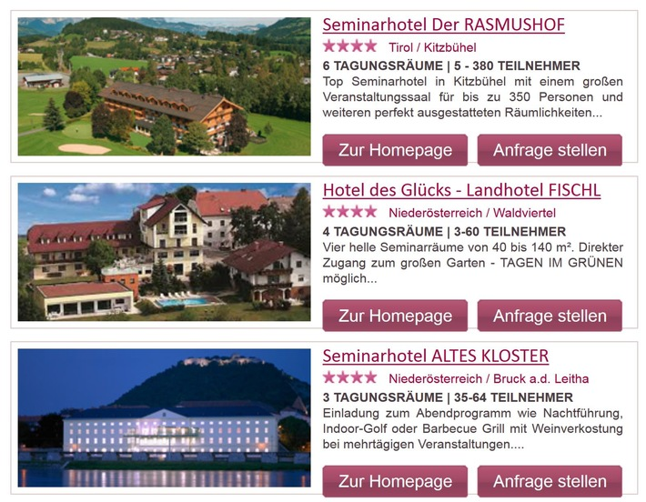 Neues ePortal für Seminar- und Tagungshotels in Österreich