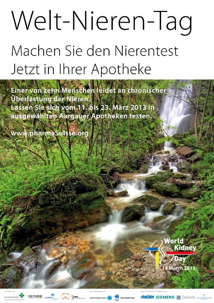 Weltnierentag 14. März: Aktion in 26 Aargauer Apotheken