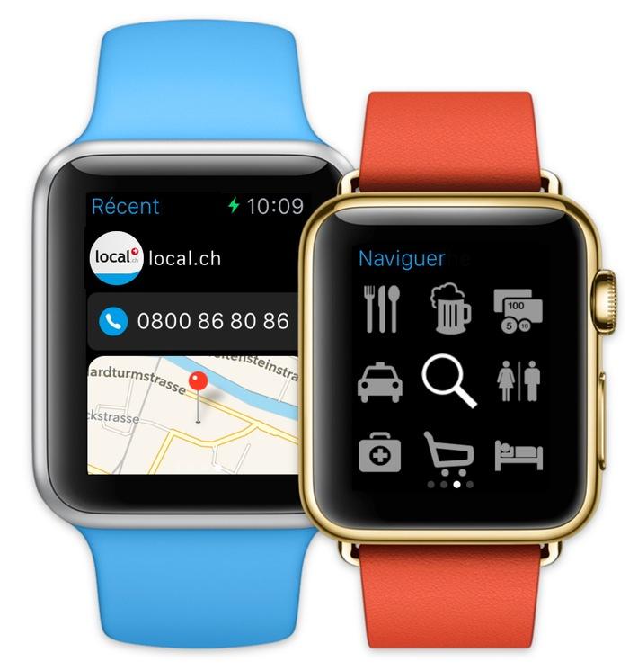 L'Apple Watch sera bientôt disponible - et l'app de local.ch est déjà prête!