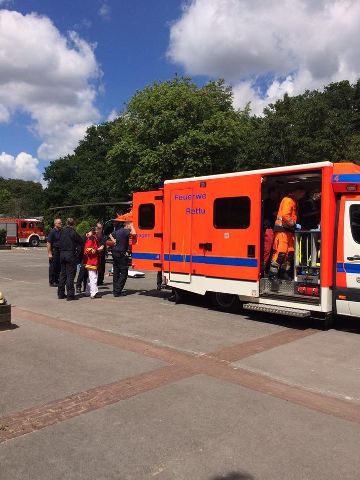 FW-Erkrath: Chirurgischer Notfall mit Rettungshubschraubereinsatz