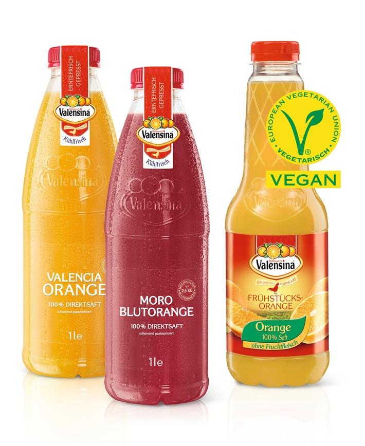 Valensina Säfte mit V-Label des Vegetarierbundes Deutschland e.V. (Vebu) zertifiziert