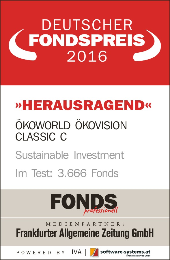 """Herausragend: DEUTSCHER FONDSPREIS 2016 für ÖKOVISION CLASSIC / FONDS professionell, FAZ und Institut für Vermögensaufbau vergeben die begehrte Auszeichnung an den """"Gewinner der Zukunft"""""""