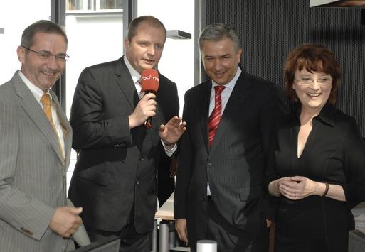 5 Jahre rbb / Dagmar Reim eröffnet das neue Inforadio-Studio mit Klaus Wowereit und Matthias Platzeck