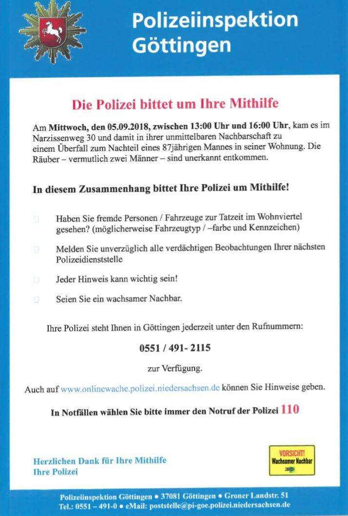 Pol Gö 4862018 Göttingen 87 Jahre Alter Senior Nach Schwerem