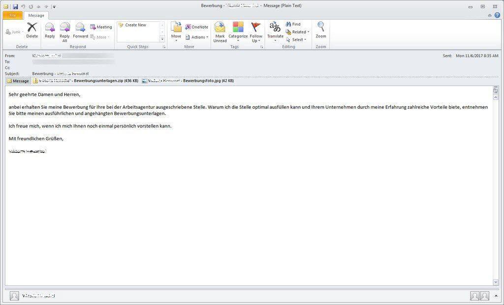 Polizei Warnt Vor E Mail Bewerbungsschreiben Mit Trojaner