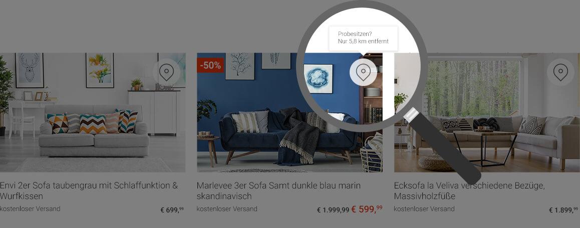 endlich m bel um die ecke jetzt im internet finden pr sentiert lokal vorr tige. Black Bedroom Furniture Sets. Home Design Ideas