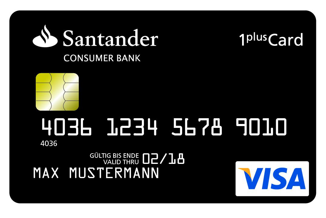 santander bietet 1plus visa card mit kostenlosem girokonto. Black Bedroom Furniture Sets. Home Design Ideas