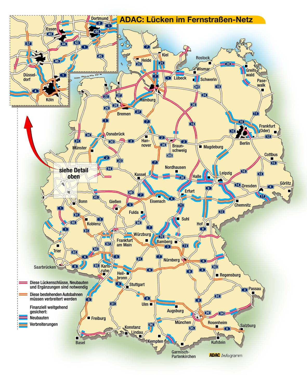 Autobahnkarte Deutschland 2021