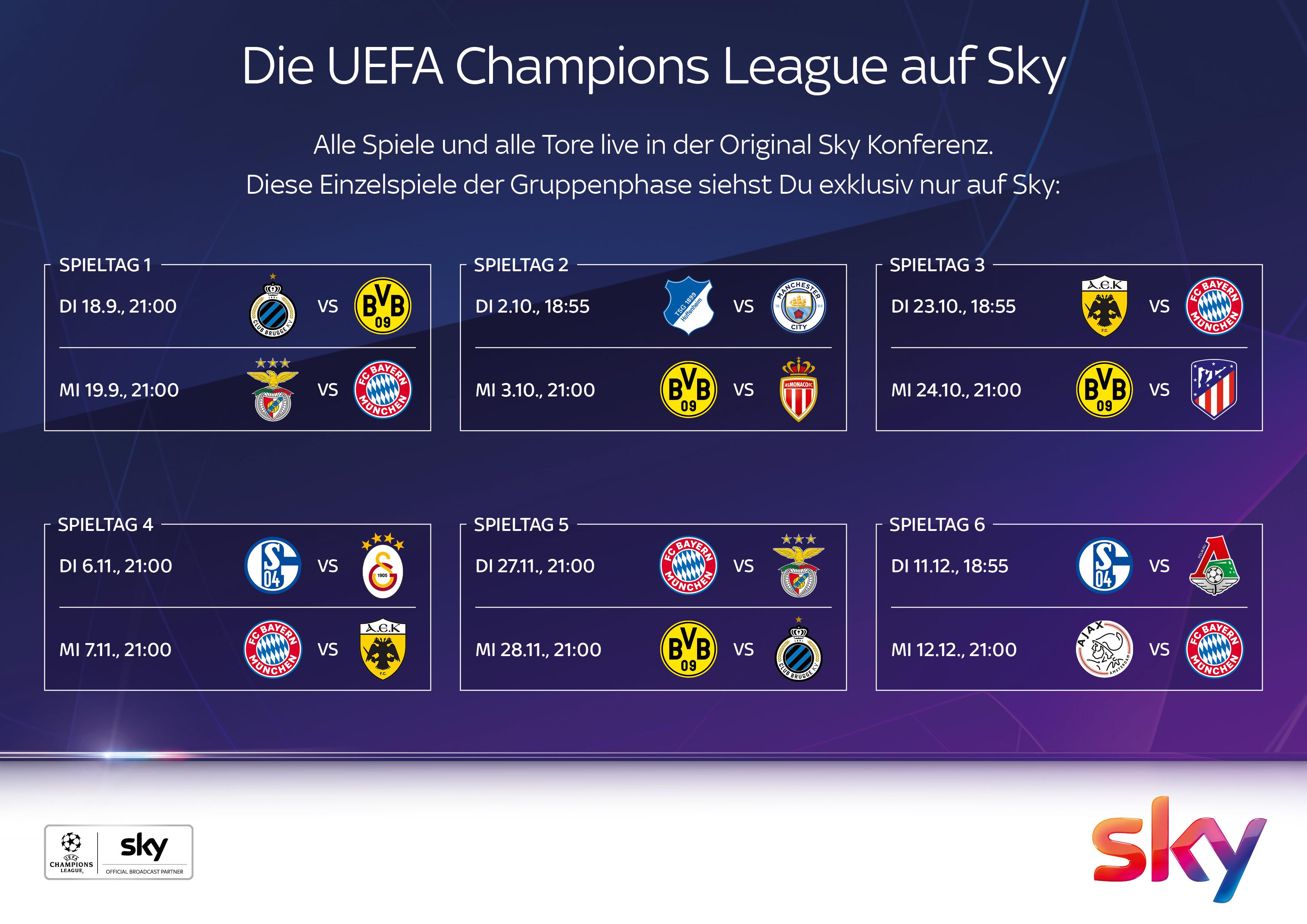 Europaische Fussballfeste In Der Neuen Uefa Champions League Exklusiv Bei Sky Die Presseportal