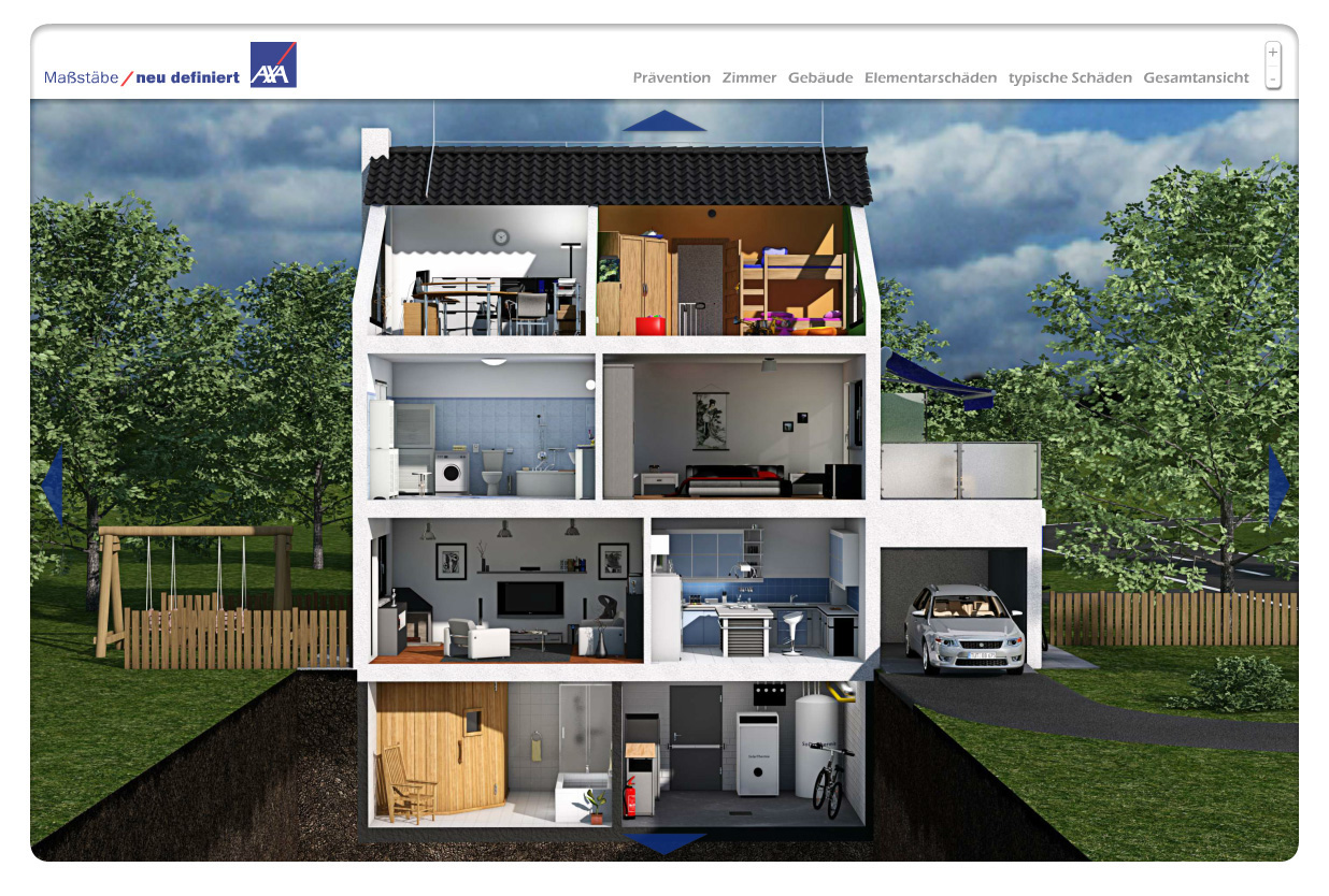 risiken kennen sch den vorbeugen das virtuelle haus von axa mit bild presseportal. Black Bedroom Furniture Sets. Home Design Ideas