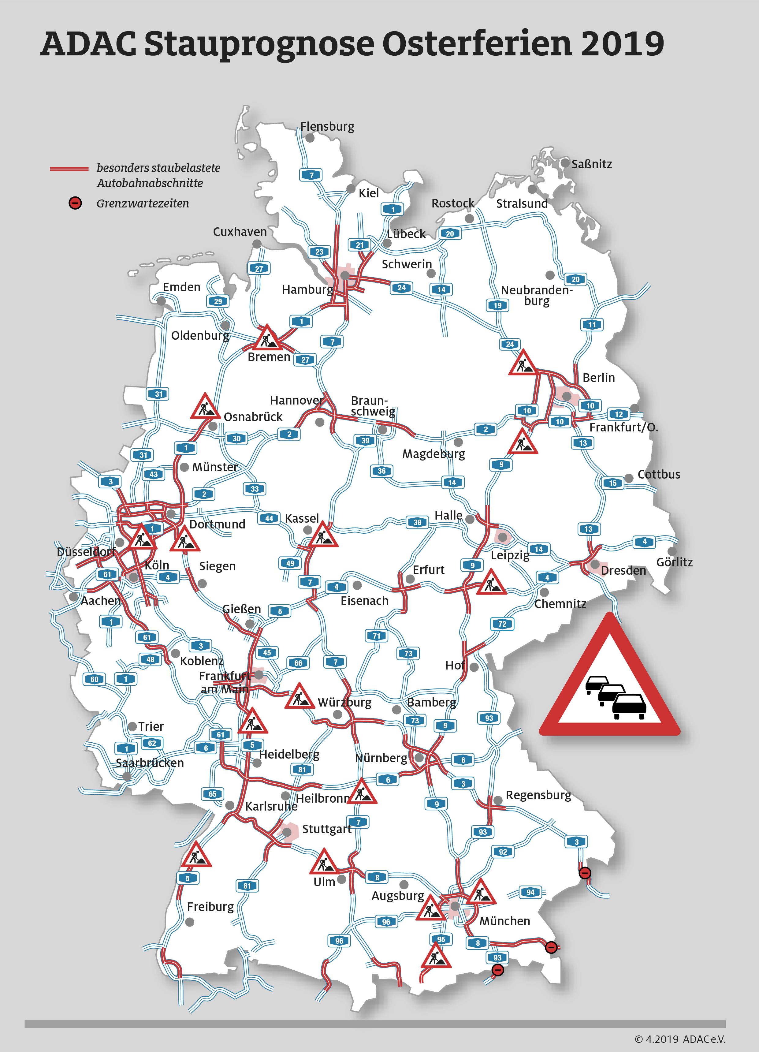 Stau Karte.Acht Bundesländer Starten In Die Osterferien Adac Stauprognose