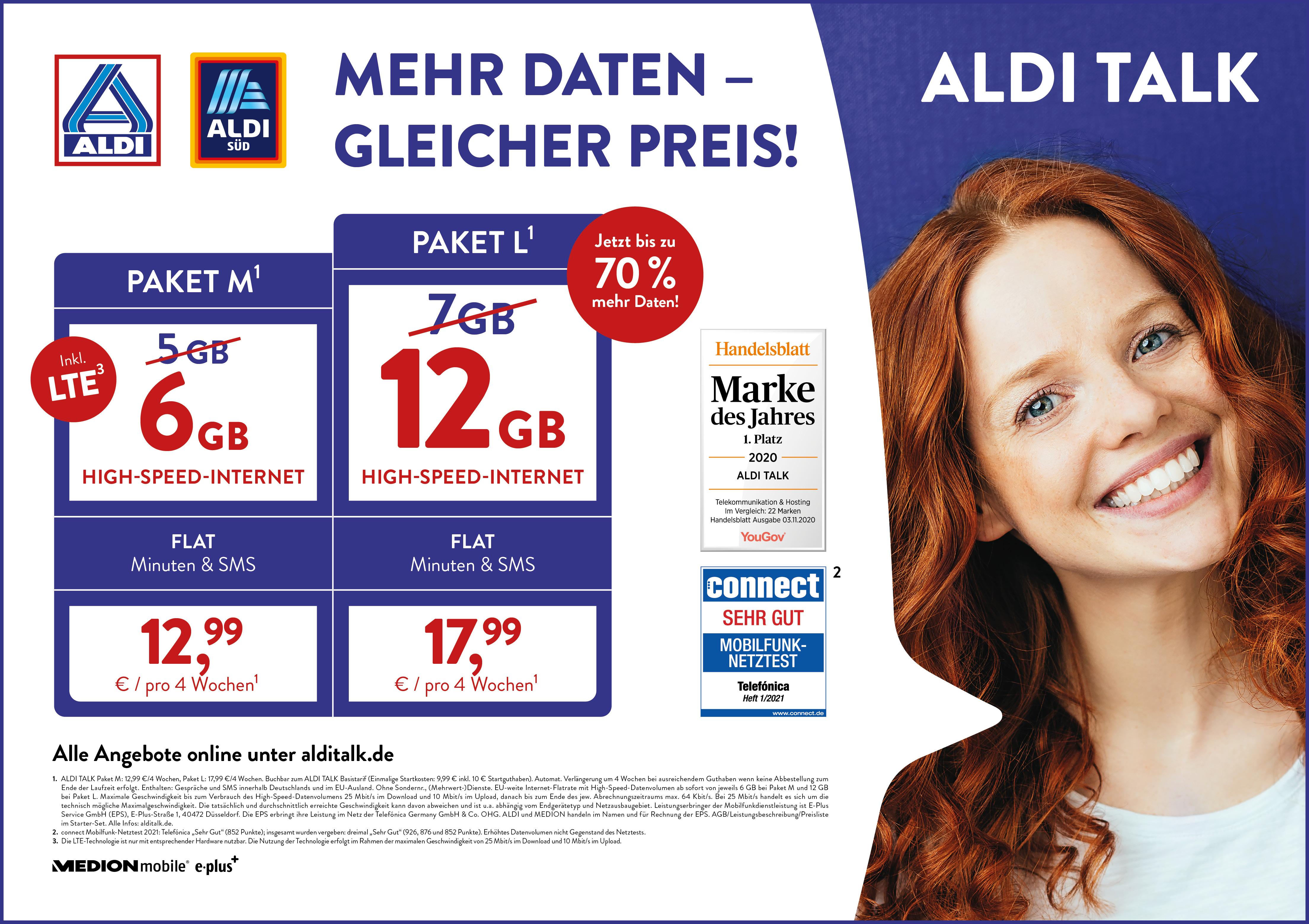 ▷ Mehr Daten, gleicher Preis ALDI TALK erhöht das Datenvolumen ...