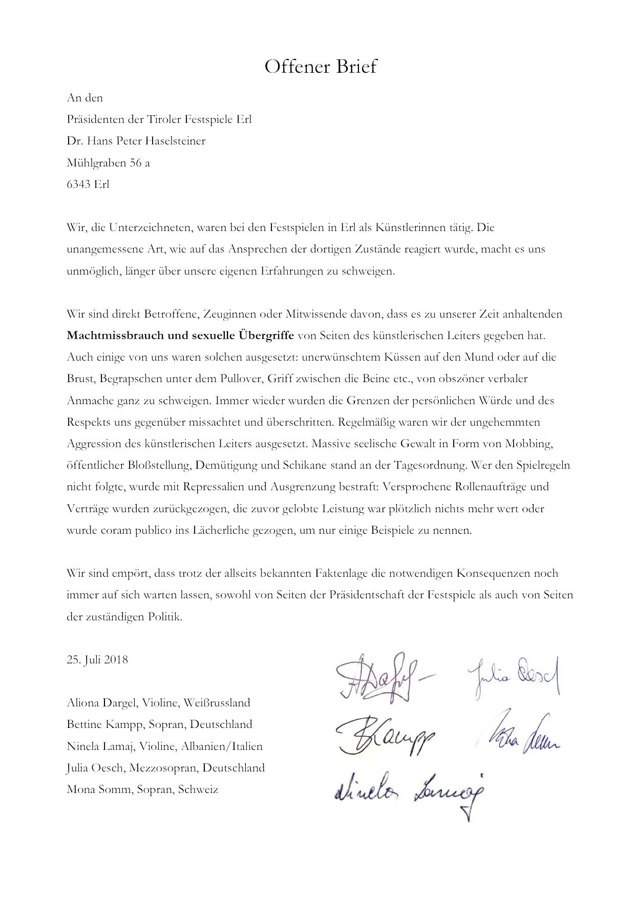 Offener Brief An Den Präsidenten Der Tiroler Festspiele Erl