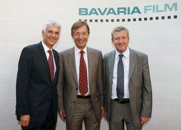 Beim Empfang der Bavaria Film anlässlich des Filmfests München am 24. Juni 2008. v.l.: Achim Rohnke, Dr. Dieter Frank und Dr. Matthias Esche