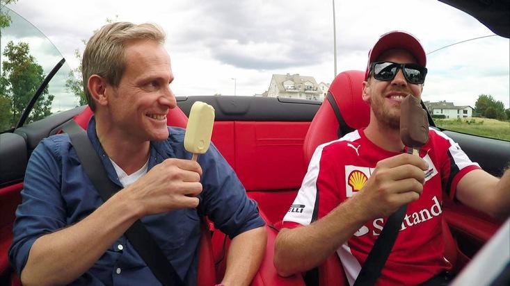 """""""GRIP - Das Motormagazin"""": Formel-1-Profi Sebastian Vettel im exklusiven Interview. Mit einem Eis im Ferrari - Sebastian Vettel und Matthias Malmedie lassen es sich schmecken. Ausstrahlung """"GRIP - Das Motormagazin"""" am 30.08.2015 um 18:00 Uhr bei RTL II. © RTL II - Recht zum Abdruck/Darstellung zeitlich/sachlich beschränkt auf die Bewerbung der Sendung. Weiterer Text über ots und www.presseportal.de/nr/6605"""