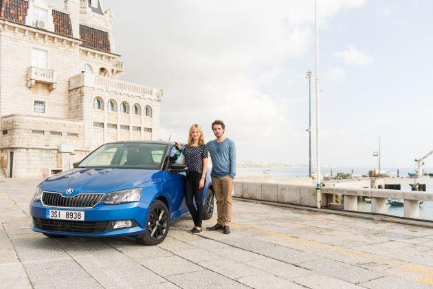 Testfahrt in Lissabon: Prominente entdecken den neuen SKODA Fabia