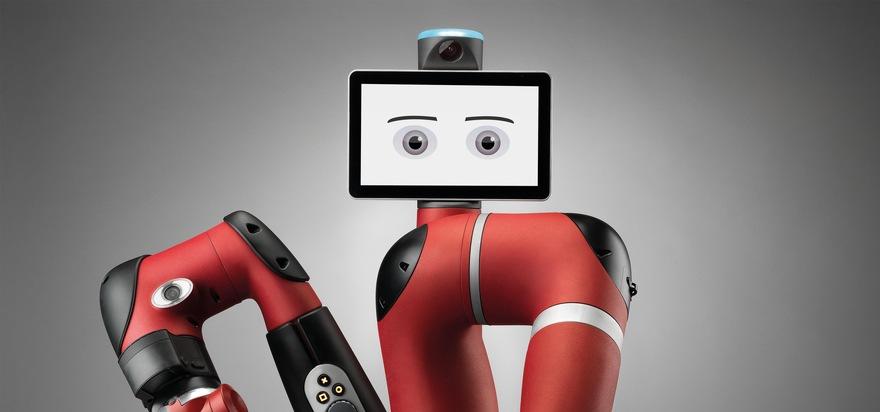 """Roboter arbeiten schnell, präzise und ermüden nicht. Doch wie muss die Zusammenarbeit mit dem Menschen gestaltet werden? / Weiterer Text über ots und www.presseportal.de/nr/103969 / Die Verwendung dieses Bildes ist für redaktionelle Zwecke honorarfrei. Veröffentlichung bitte unter Quellenangabe: """"obs/Bundesanstalt für Arbeitsschutz und Arbeitsmedizin/Rethink Robotics"""""""