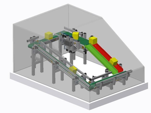 Das Exponat des Fraunhofer IAF auf der diesjährigen Hannover Messe zeigt den Einsatz des Radars in der Prozessautomation. Hier zu sehen ist das 3D-Modell.  © Fraunhofer IAF