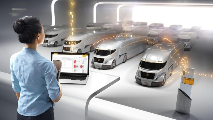 Das vernetzte LKW Depot: Nutzfahrzeugreifen von Continental übertragen Daten dank Vodafone im Internet der Dinge