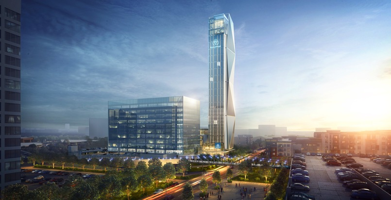 """thyssenkrupp Elevator, one of the world's largest elevator companies and a market leader in North America, is going to build a new, world-class headquarters near the Atlanta Braves baseball stadium in Georgia/USA. The facilities will be anchored by a state-of-the-art, 128-meter-tall elevator test tower, the tallest of its kind in the U.S. and one of the tallest in the world. Please quote the source: """"obs/thyssenkrupp elevator AG"""""""