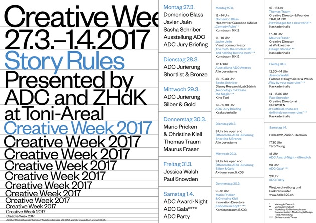 Creative Week presented by ADC & ZHDK, ADC Jurierung, Award-Night & Gala, 27.3. - 1.4.2017