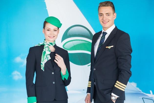 Flugbegleiterin und Pilot von Germania in neuer Uniform © Stephan Pramme, Germania