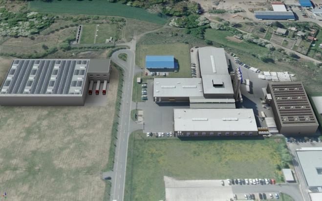 Bisherige Fläche des va-Q-tec Produktionsstandorts in Kölleda (rechts) und geplanter Ausbau mit 5.000 qm (links).