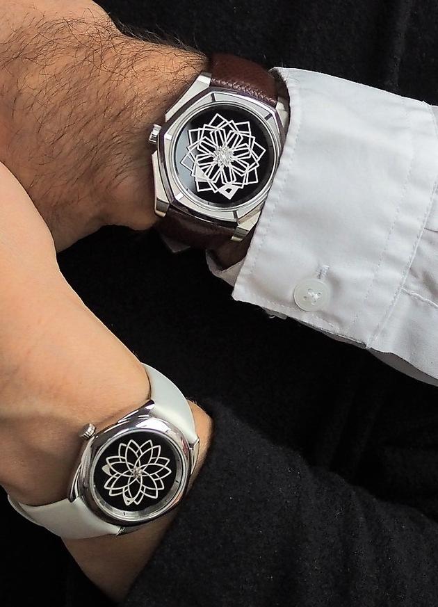 """Modele Tanoura 44mm onyx und Stella S 37mm onyx Weiterer Text über ots und www.presseportal.ch/de/nr/100064371 / Die Verwendung dieses Bildes ist für redaktionelle Zwecke honorarfrei. Veröffentlichung bitte unter Quellenangabe: """"obs/Muse - Swiss art watches/Ian Prince"""""""