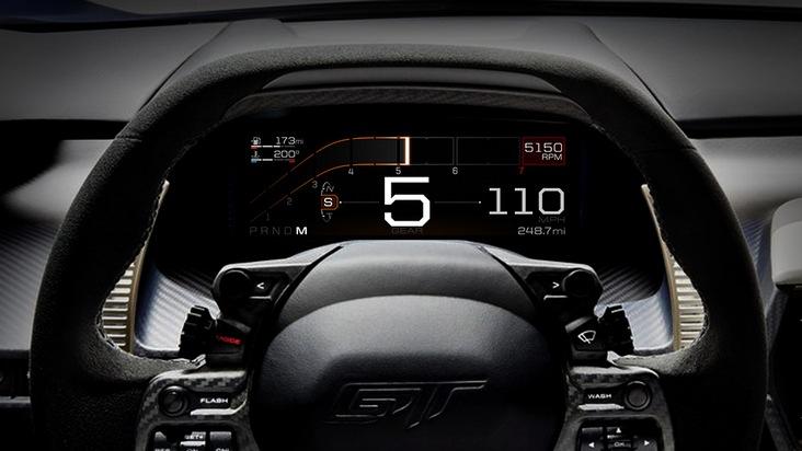 """Ähnlich wie Flugzeuge und Rennautos bietet auch der neue Ford GT ein digitales Instrumenten-Display im Cockpit. Die zehn Zoll große Anzeige passt sich dank eines sehr leistungsfähigen Prozessors automatisch den fünf unterschiedlichen Fahrmodi des Supersportwagens an und liefert dem Fahrer stets nur die wirklich relevanten Informationen. Weniger wichtige Daten und Informationen werden dagegen ausgeblendet. Schriftart, Ziffernanzeige, Farbe und die gesamte Display-Gestaltung sollen die Reaktionsfähigkeit des Ford GT-Piloten unterstützen, so dass er sich voll und ganz auf das Verkehrsgeschehen konzentrieren kann. Das Design des hochauflösenden Displays fügt sich gefällig ins Cockpit ein und die angezeigten Informationen werden klar und kontrastreich dargestellt. Das Bild zeigt den """"Sport""""-Modus. Weiterer Text über ots und www.presseportal.de/nr/6955 / Die Verwendung dieses Bildes ist für redaktionelle Zwecke honorarfrei. Veröffentlichung bitte unter Quellenangabe: """"obs/Ford-Werke GmbH"""""""