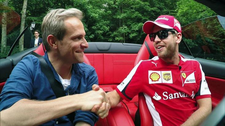 """""""GRIP - Das Motormagazin"""": Formel-1-Profi Sebastian Vettel im exklusiven Interview. Mit dem viermaligen Formel-1-Sieger Sebastian Vettel im Ferrari durch die Gegend fahren? Was für Autosport-Fans wie ein Traum klingt, darf Matthias Malmedie selbst erleben. Der GRIP-Moderator unternimmt mit dem weltberühmten Rennfahrer eine Spazierfahrt durch Wiesbaden im Ferrari California T. Ausstrahlung """"GRIP - Das Motormagazin"""" am 30.08.2015 um 18:00 Uhr bei RTL II. © RTL II - Recht zum Abdruck/Darstellung zeitlich/sachlich beschränkt auf die Bewerbung der Sendung. Weiterer Text über ots und www.presseportal.de/nr/6605"""