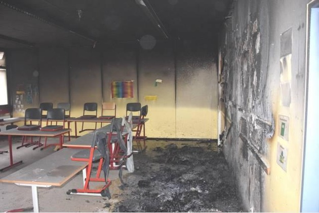 Brandbeschädigter Klassenraum der Oberschule Bad Fallingbostel