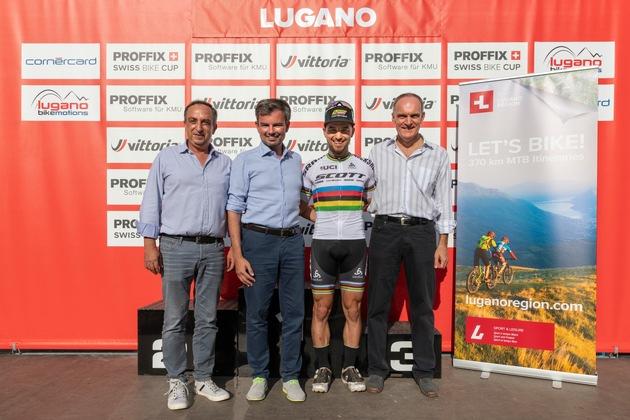 Alessandro Stella (Direktor Ente Turistico del Luganese), Nicola Brivio (Bürgermeister von Morcote), Nino Schurter (mehrfacher Weltmeister & Olympiasieger), Roberto Badaracco (Vorsteher des Amts für Kultur, Sport und Events der Stadt Lugano) - v.l.n.r.