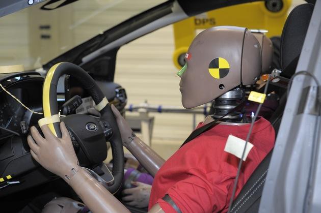 """Mittels Hochgeschwindigkeitskameras, die bis zu 1.000 Bilder pro Sekunde aufnehmen, können die Ford Ingenieure im Ford Crash-Labor präzise das Verhalten der Airbags und der Rückhaltesysteme sowie der Karosserie und der Sicherheitszelle analysieren und gegebenenfalls entsprechend weiterentwickeln. In diesem Zusammenhang werden auch die Daten von 70 hochsensiblen Sensoren ausgewertet, die in Crash-Test-Dummies der neuesten Generation platziert sind, davon alleine 15 im Kopf der künstlichen Testpersonen. Weiterer Text über ots und www.presseportal.de/nr/6955 / Die Verwendung dieses Bildes ist für redaktionelle Zwecke honorarfrei. Veröffentlichung bitte unter Quellenangabe: """"obs/Ford-Werke GmbH"""""""