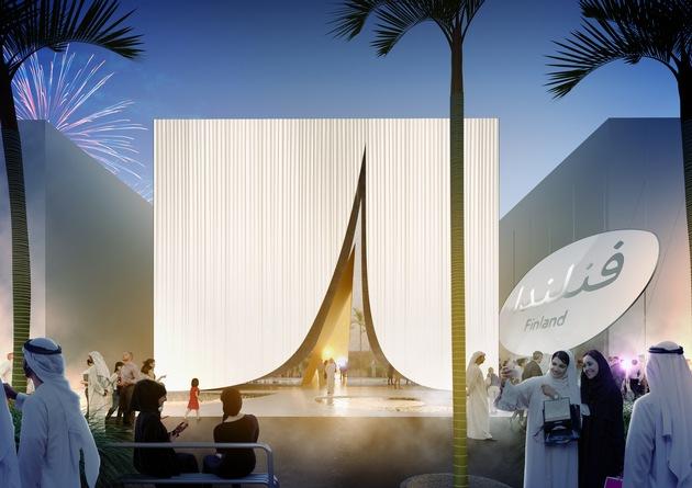 """Finland Pavilion Expo 2020 Dubai Front view / Texte complémentaire par ots et sur www.presseportal.ch/fr/nr/100017100 / L'utilisation de cette image est pour des buts redactionnels gratuite. Publication sous indication de source: """"obs/Expomobilia AG"""""""