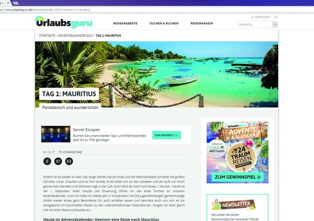 Am 1. Dezember 2017 gibt es eine Traumreise nach Mauritius zu gewinnen.