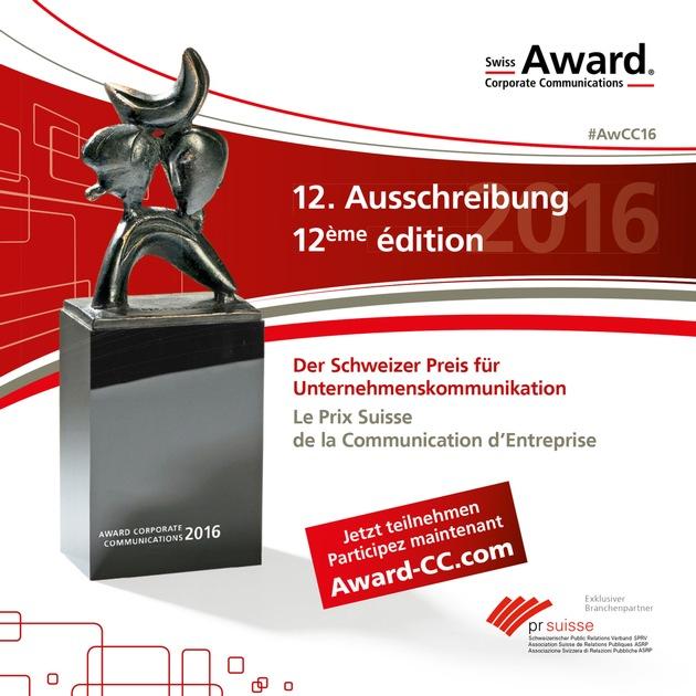 Swiss Award Corporate Communications: Ausschreibung gestartet