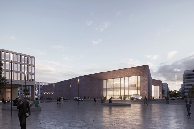 Das Büro DEGELO Architekten aus Basel sieht für das Konferenzzentrum in der Bahnstadt ein architektonisch markantes Gebäude mit einer rötlich getönten Fassade vor.