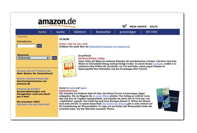 """Amazon vor 20 Jahren / Die Zukunft der Möglichkeiten: Heute vor 20 Jahren startete Amazon in Deutschland / Weiterer Text über ots und www.presseportal.de/nr/8337 / Die Verwendung dieses Bildes ist für redaktionelle Zwecke honorarfrei. Veröffentlichung bitte unter Quellenangabe: """"obs/Amazon.de"""""""