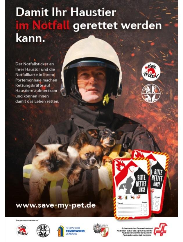 Kampagnenmotiv von www.save-my-pet.de © Schweizerischer Feuerwehrverband SFV
