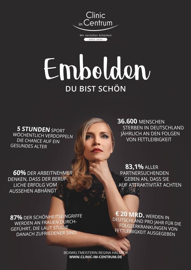 Embolden - Du bist schön  Awarenesskampagne von Regiina Halmich und Clinic im Centrum  Fotocredits: Claudio di Lucia, Abdruck honorarfrei.