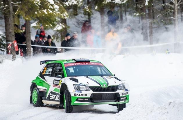 Rallye Schweden: SKODA Motorsport mit Pontus Tidemand und O.C. Veiby auf dem WRC 2-Podium