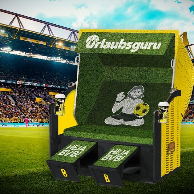 Die besten Plätze: Der Urlaubsguru Fankorb steht direkt unterhalb der Gelben Wand im Signal-Iduna-Park. Bild: UNIQ GmbH