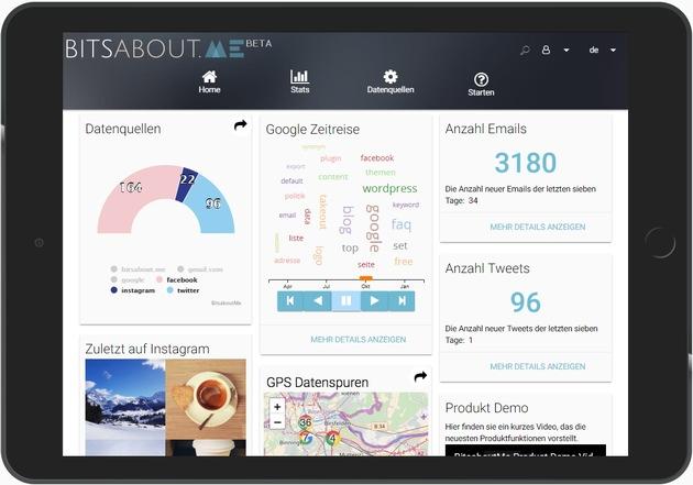 """Das Schweizer Startup BitsaboutMe wird im Mai einen Online-Daten-Marktplatz bereitstellen, auf dem Verbraucher Informationen über ihre persönlichen Online-Aktivitäten und Kundendaten, die üblicherweise über das ganze Internet verstreut und für sie unzugänglich sind, nun an einem sicheren Ort sammeln, transparent einsehen und kontrollieren können. Die beiden Gründer von BitsaboutMe, Dr. Christian Kunz (CEO) und Christophe Legendre (CTO), geben mit diesem innovativen Daten-Marktplatz dem Verbraucher die Kontrolle über sein digitales Ich zurück. Mit der neu eingeführten Marktplatz-Funktion will BitsaboutMe seine Nutzer unterstützen, ihr persönliches Datenprofil zu erstellen und unter voller Kontrolle mit Dritten gegen Vergütung zu teilen. Unternehmen und Organisationen, die ihre Produktentwicklung, Produktion, Marketing und Kundenbeziehungsmanagement datengetrieben optimieren, können über BitsaboutMe Zugang zu qualitativ hochwertigen Nutzerprofilen mit Einwilligung der Nutzer erwerben. Damit erhalten Unternehmen eine attraktive Datenschutz-Lösung, die die strengeren Auflagen, insbesondere die erforderlichen Kundeneinwilligungen zur Datenverarbeitung der ab 25. Mai 2018 in der EU geltenden Datenschutz-Grundverordnung (DSGVO) abbildet (Foto: Dachboard Bitsaboutme). Weiterer Text über ots und www.presseportal.de/nr/130236 / Die Verwendung dieses Bildes ist für redaktionelle Zwecke honorarfrei. Veröffentlichung bitte unter Quellenangabe: """"obs/BitsaboutMe AG/Bitsaboutme"""""""