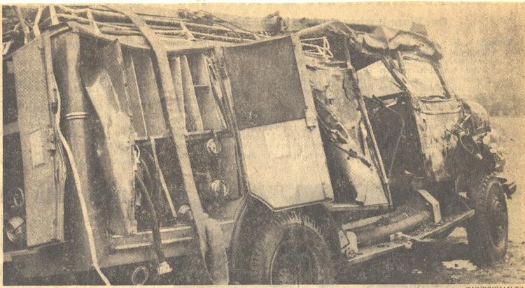 Das ausgebrannte Tanklöschfahrzeug   Foto: unbekannt